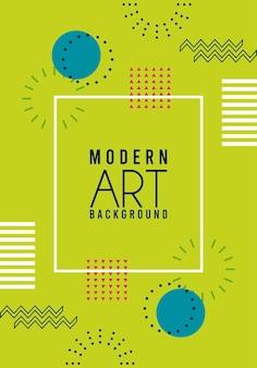 Iscrizione di arte moderna sullo sfondo verde di memphis