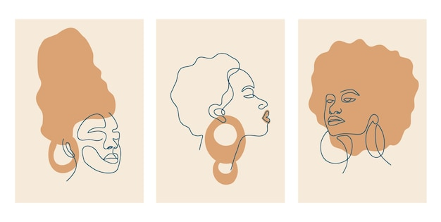 Stampe d'arte moderna in stile boho. donne afro eleganti