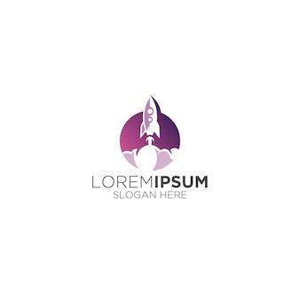 Moderno logo del razzo jet dell'astronauta