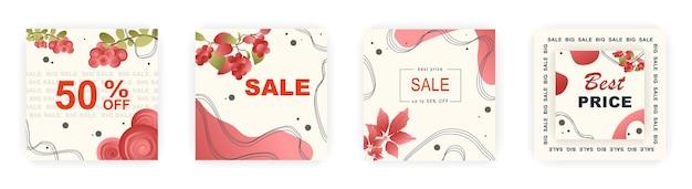 Modelli di poster di vendita quadrati moderni autunnali post sui social media con motivi floreali e geometrici