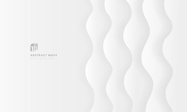 Fondo moderno fondo bianco e grigio di strati curvi 3d.
