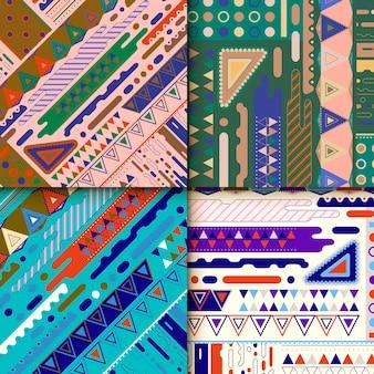 Design moderno del modello di sfondo impostato con elementi geometrici colorati