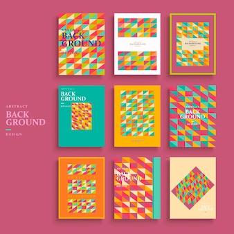 Design moderno del modello di sfondo impostato con elementi di mosaico colorati