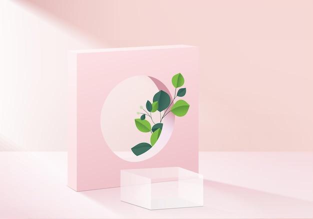 Piattaforma moderna con sfondo in vetro rosa moderno. rendering di sfondo piattaforma moderna in cristallo podio. stand mostra prodotto cosmetico. vetrina scenica su piedistallo moderno studio piattaforma