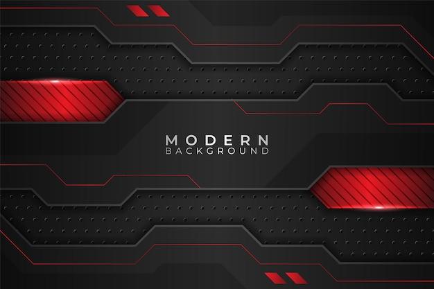 Sfondo moderno tecnologia metallica realistica incandescente rosso e scuro