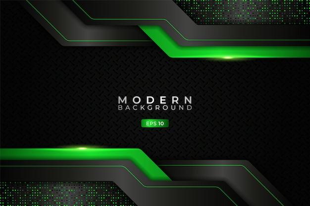 Sfondo moderno tecnologia realistica strato sovrapposto verde brillante metallizzato con effetto glitter