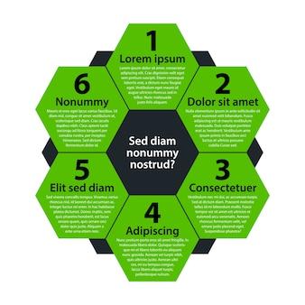 Sfondo moderno con esagoni verdi. ogni forma rappresenta l'opzione o la scelta.