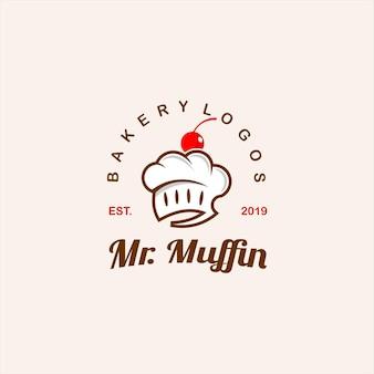 Moderno concetto di badge muffin e pane da forno