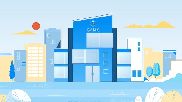 Edificio bancario moderno su sfondo blu
