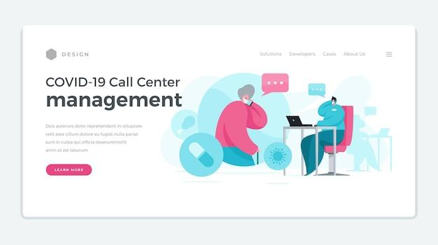 Banner moderno con gestione del call center covid 19 per aiutare le persone