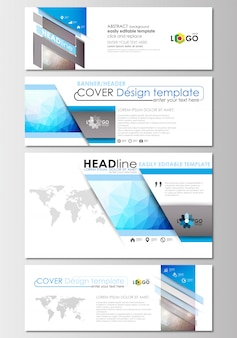 Banner moderni, intestazioni e-mail. cover design, colorata poligonale. Vettore Premium