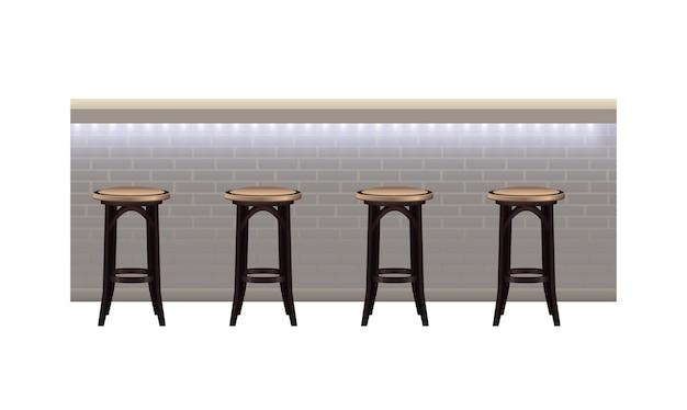 Bancone bar moderno con illustrazione di luci e sgabelli