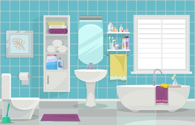Interno del bagno moderno. illustrazione piatta