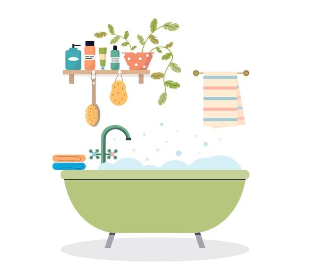Interno del bagno moderno vasca da bagno schiumosa in camera accogliente mensola del bagno con cosmetici e piante bagno accogliente con bottiglie di shampoo per asciugamani e asciugamano piatto