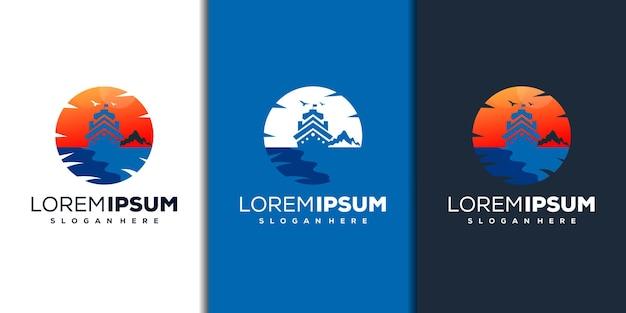 Design moderno del logo della spiaggia e della barca
