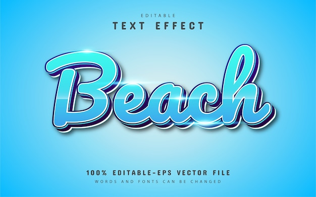 Effetto testo spiaggia moderno con sfumatura blu