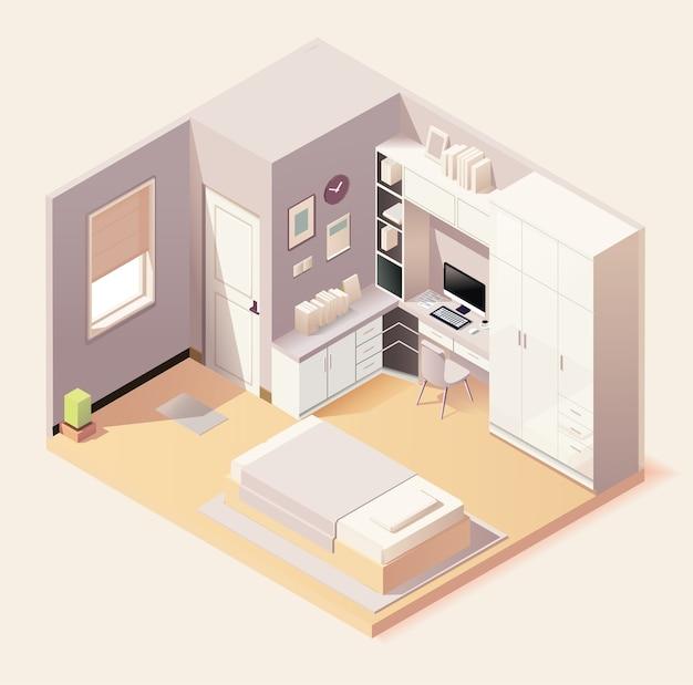 Interno camera da letto moderna con mobili in stile isometrico