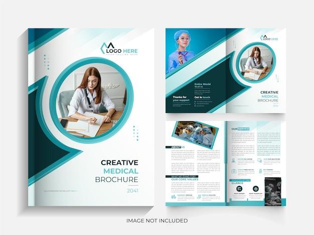 Modello di progettazione di brochure medica moderna bi fold