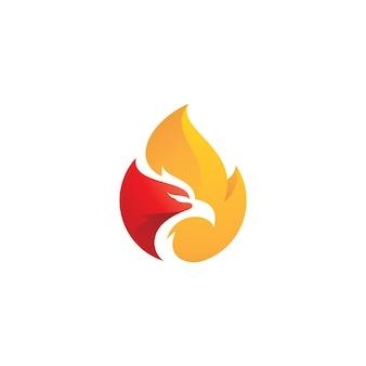Modern bird phoenix head e fire flame logo design con colori sfumati colorati