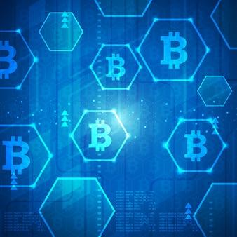 Illustrazione moderna del fondo dell'insegna di tecnologia di bitcoin