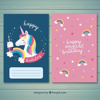 Scheda bithday moderna con unicorno carino