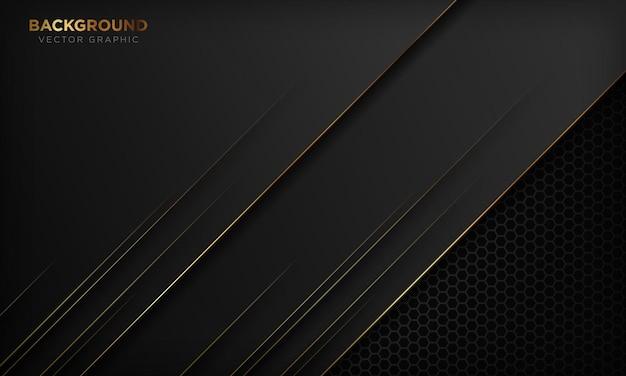 Sfondo nero moderno con linee dorate