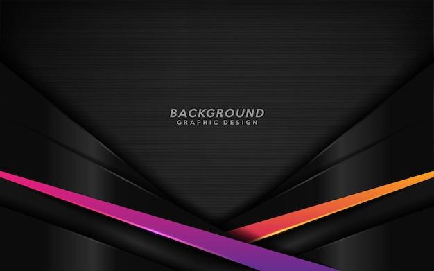 Sfondo nero moderno con combinazione di linee viola e arancioni.