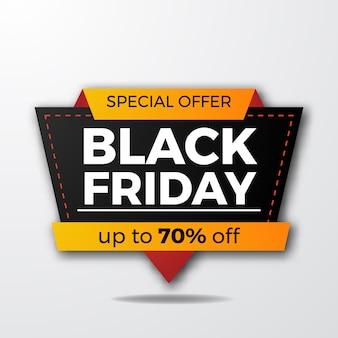 Modello di banner sconto offerta vendita badge venerdì nero moderno