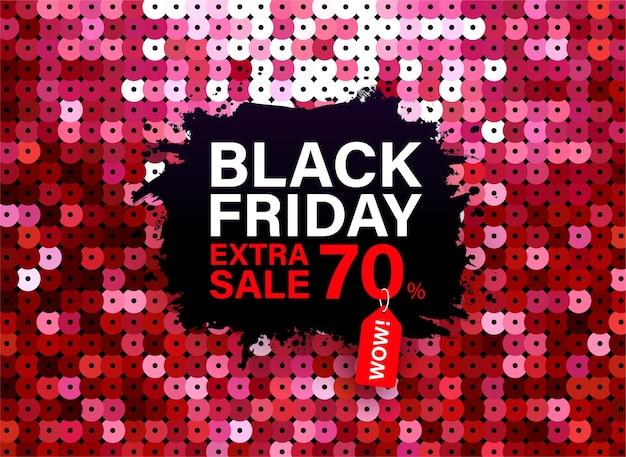 Moderno banner black friday con effetto tessuto di paillettes rosse per offerte speciali vendite e sconti