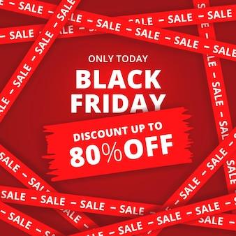 Banner di vendita moderna venerdì nero con tema della linea croce rossa