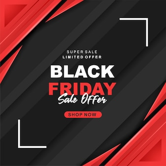 Banner di super vendita del black friday moderno a