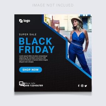 Super vendita del black friday moderno con design banner splash blu