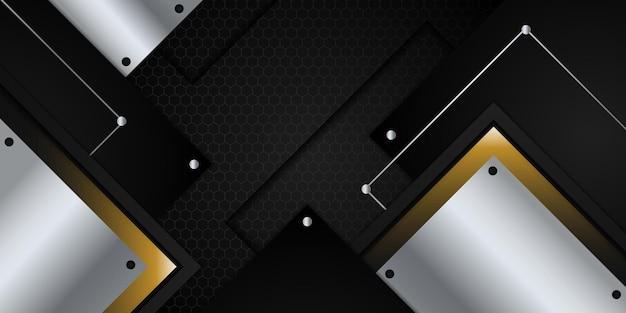 Moderno sfondo astratto 3d nero e oro con decorazione leggera e motivo a trama metallica