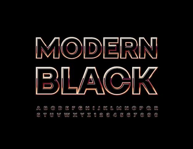 Alfabeto moderno nero e oro stile elegante carattere lusso lucido lettere e numeri impostati