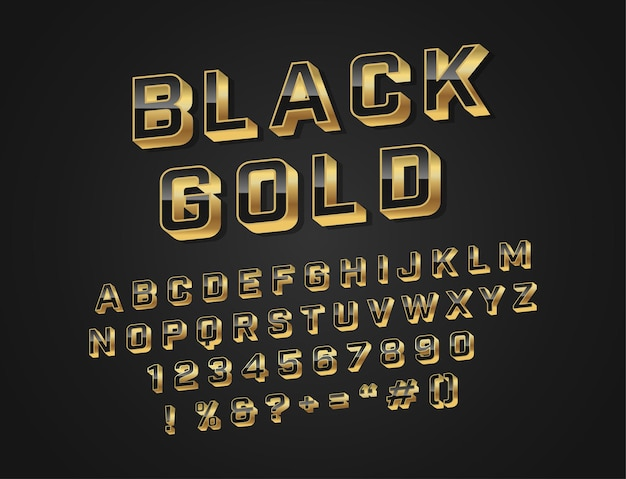 Caratteri moderni dell'alfabeto nero e oro