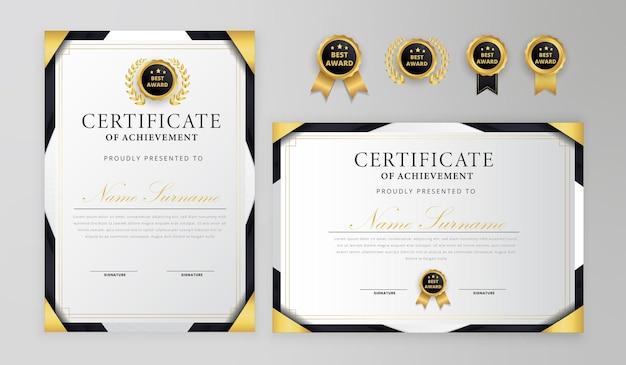 Certificato di conseguimento moderno nero e oro con badge e modello di bordo