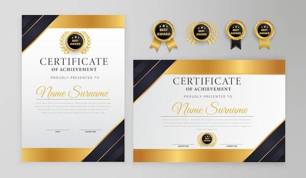 Certificato moderno nero e oro Vettore Premium