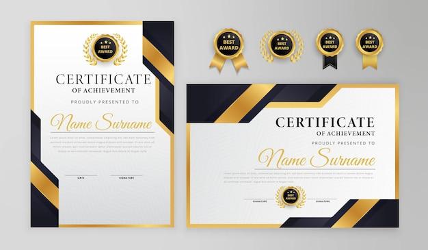 Certificato moderno nero e oro