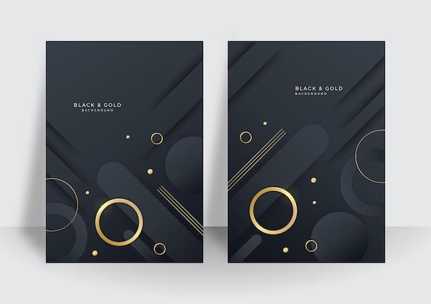 Set di design moderno con copertina in oro nero. modello di linea diagonale dinamica oro creativo di lusso. sfondo vettoriale premium formale per brochure aziendale, poster, taccuino, modello di menu