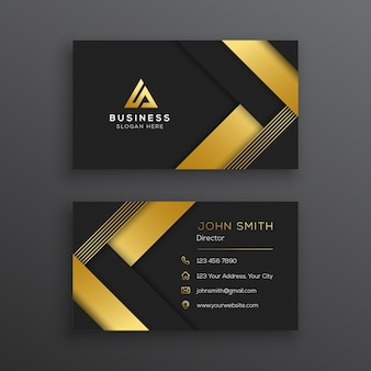 Modello di biglietto da visita elegante moderno nero e oro