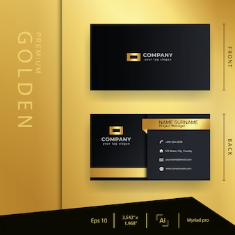Biglietto da visita dorato nero moderno con stile di lusso e modello elegante