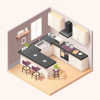 Interiore della stanza cucina moderna nera con mobili ed elettrodomestici in stile isometrico