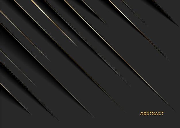 Sfondo di lusso nero moderno con linea d'oro e ombra.