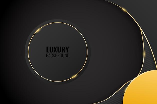 Sfondo di lusso nero moderno con linea dorata lucida