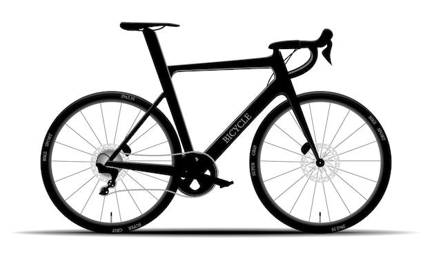 Mountain bike nero moderno su fondo isolato, hardtail, illustrazione