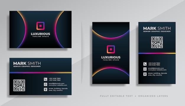 Design moderno modello di biglietto da visita di lusso professionale nero con effetto luce bagliore colorato