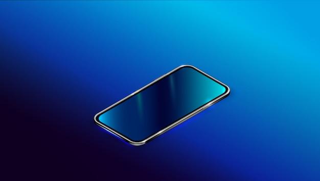 Moderno smart phone nero in vista prospettica.
