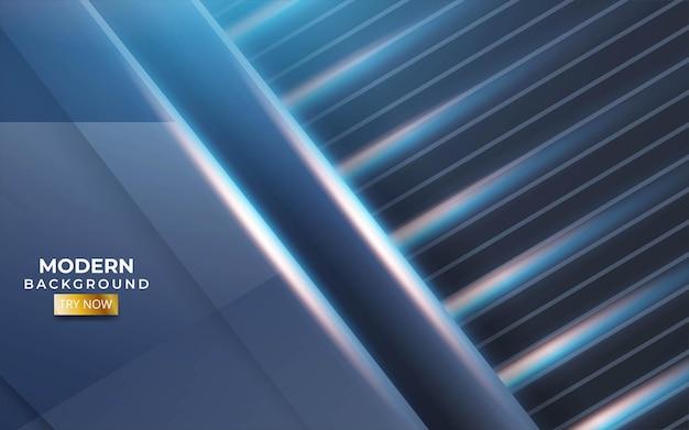 Sfondo blu moderno con una linea blu e oro in trama di carbonio