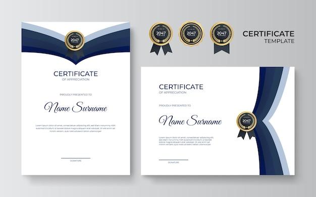 Certificato blu moderno. certificato di modello di apprezzamento, colore oro e blu. certificato moderno pulito con distintivo d'oro. modello di bordo del certificato con motivo di linea di lusso e moderno.