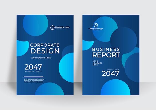 Modello di progettazione moderna copertina blu. progettazione del layout del modello di brochure. relazione annuale aziendale, catalogo, rivista, mockup di volantini. forma rotonda del cerchio luminoso moderno creativo di concetto